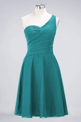 Sexy A-line Flowy One-Shoulder Sweetheart Sleeveless Short length Bridesmaid Dress UK UK with Ruffles_31