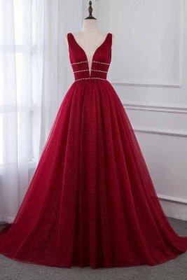 Stylish Deep Alluring V-neck Sleeveless Tulle Sexy A-line Rhinestones Prom Dress UKes UK UK_1