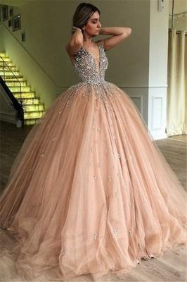 Chic V-Neck Straps Sleeveless Crystals Tulle Ball Gown Prom Dress UKes UK UK_1