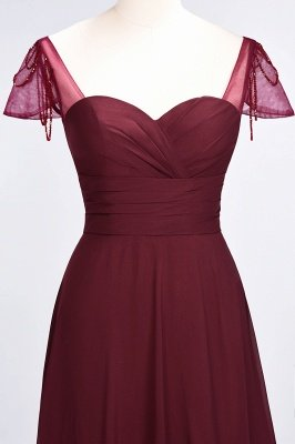 A-Line Chiffon Sweetheart Cap-Sleeves Ruffle Long Bridesmaid Dress UK with Beadings_5