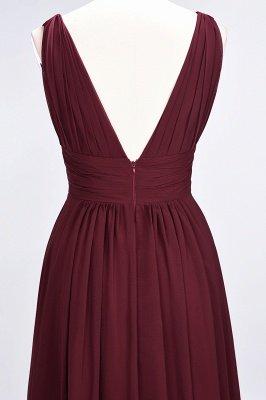 A-Line Chiffon V-Neck Sleeveless Long Bridesmaid Dress UK with Ruffle_7