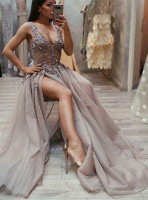 Chic Straps Sleeveless Front Slit A-Line V-Neck Long Prom Dress UKes UK UK_1