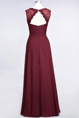A-Line Chiffon Lace V-Neck Sleeveless Long Bridesmaid Dress UK_3