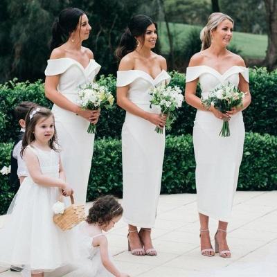 Off The Shoulder Elegant Bridesmaid Dress UKes UK   Front Slit Affordable White Maid of Honor Dress UK_2