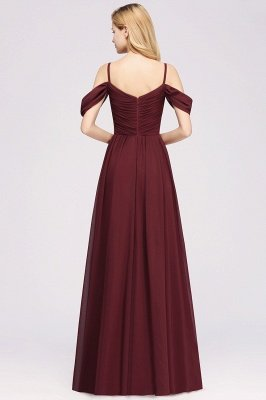 A-Line Light Chiffon V-Neck Spaghetti Straps Short-Sleeves Sweep Train Bridesmaid Dress UKes UK UK with Ruffles_2