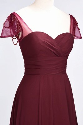 A-Line Chiffon Sweetheart Cap-Sleeves Ruffle Long Bridesmaid Dress UK with Beadings_6