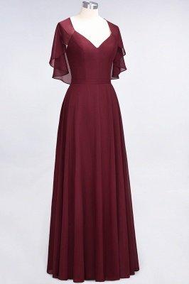 A-Line Chiffon Satin V-Neck short-sleeves Long Bridesmaid Dress UK_4