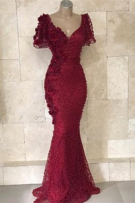 Gorgeous V-Neck Short Sleeves Beading Flower Elegant Mermaid Long Prom Dress UKes UK UK_1