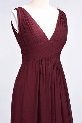A-Line Chiffon V-Neck Sleeveless Long Bridesmaid Dress UK with Ruffle_6