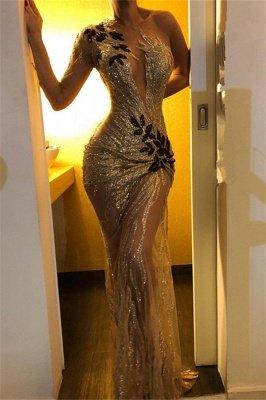 Gorgeous One Shoulder V-Neck Column Backless Long Prom Dress UKes UK UK_2