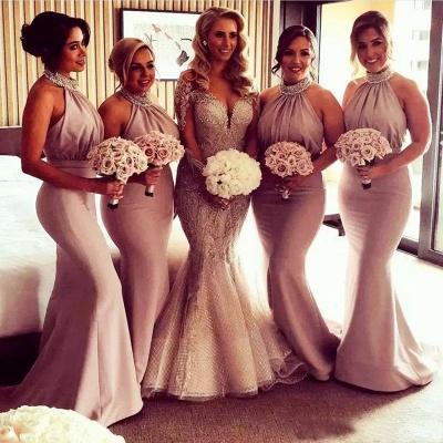 Timeless Halter Elegant Mermaid Bridesmaid Dress UKes UK | Elegant Ruched Long Wedding Party Dress UKes UK_3
