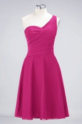 Sexy A-line Flowy One-Shoulder Sweetheart Sleeveless Short length Bridesmaid Dress UK UK with Ruffles_9