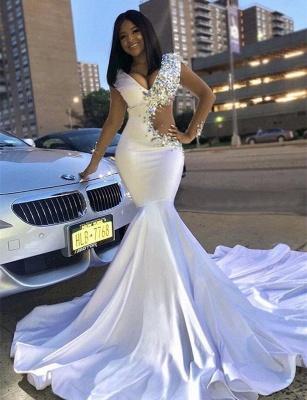 Chic V-Neck Lace Crystals Sweep Train Elegant Mermaid Prom Dress UKes UK UK_3