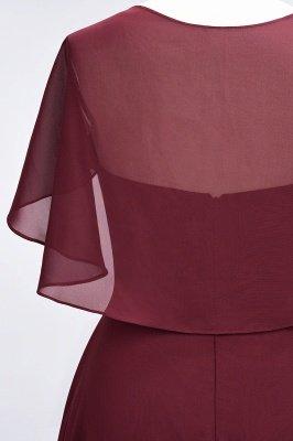 A-Line Chiffon Satin V-Neck short-sleeves Long Bridesmaid Dress UK_7