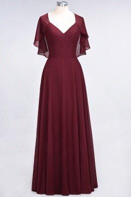 A-Line Chiffon Satin V-Neck short-sleeves Long Bridesmaid Dress UK_2