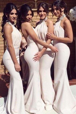 Timeless Halter Elegant Mermaid Bridesmaid Dress UKes UK | Elegant Ruched Long Wedding Party Dress UKes UK_1