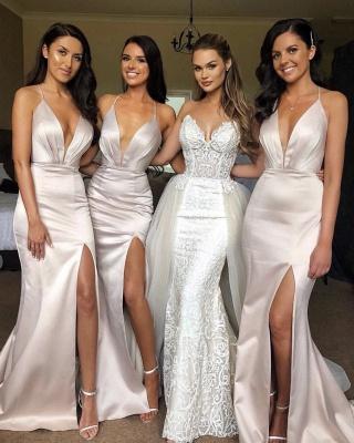 Elegant Slit Spaghetti Straps Bridesmaid Dress UK Affordable | Column Sleeveless V-neck Maid of Honor Dress UK_2