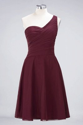 Sexy A-line Flowy One-Shoulder Sweetheart Sleeveless Short length Bridesmaid Dress UK UK with Ruffles_10