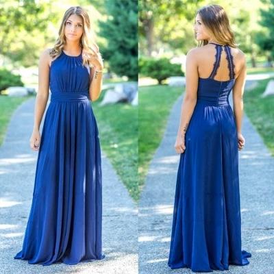 Ocean Blue Halter Chiffon Affordable Bridesmaid Dress UKes UK | A-line Backless Long Bridesmaid Dress UKes UK_3