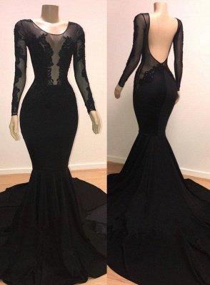 Speical Scoop with Sleeves Backless Appliques Tulle Elegant Mermaid Prom Dress UKes UK UK_1