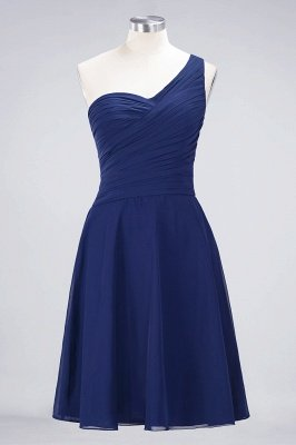 Sexy A-line Flowy One-Shoulder Sweetheart Sleeveless Short length Bridesmaid Dress UK UK with Ruffles_25