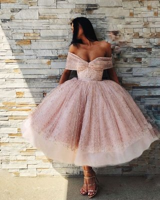 Chic Off-the-Shoulder Ball Gown Tulle Tea-Length Prom Dress UKes UK UK_4