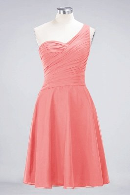 Sexy A-line Flowy One-Shoulder Sweetheart Sleeveless Short length Bridesmaid Dress UK UK with Ruffles_7