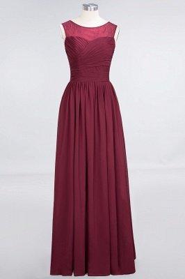 A-Line Chiffon Tulle Lace Scoop Sleeveless Long Bridesmaid Dress UK with Ruffle_1