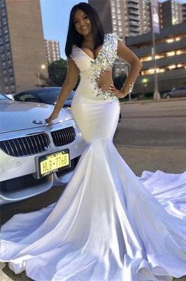 Chic V-Neck Lace Crystals Sweep Train Elegant Mermaid Prom Dress UKes UK UK_1