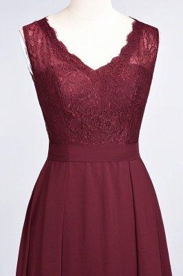 A-Line Chiffon Lace V-Neck Sleeveless Long Bridesmaid Dress UK_5