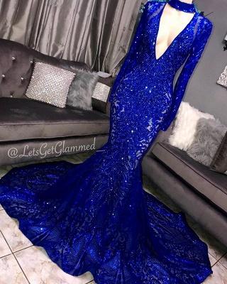 Amazing Elegant Mermaid Long Sleeves Seductive Deep Sexy V-Neck Lace Applique Prom Dress UKes UK UK_2