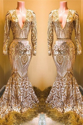 Stunning Sequins Long Sleeves V-neck Elegant Trumpt Prom Dress UKes UK UK_1