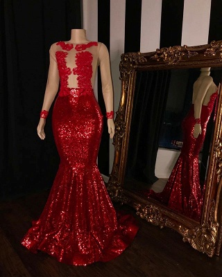 Long Sleeves Sequins Elegant Trumpt Prom Gowns | Simple Sheer Tulle Red Long Evening Dress UK_2