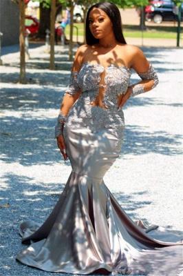 Chic Off The Shoulder Long Sleeves Elegant Trumpt Prom Dress UKes UK UK | Sheer Tulle Lace Appliques Evening Dress UKes UK_2