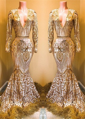 Stunning Sequins Long Sleeves V-neck Elegant Trumpt Prom Dress UKes UK UK_3