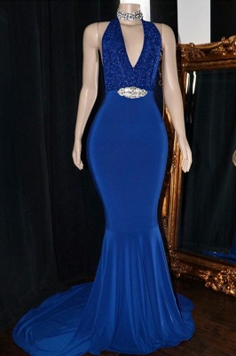 Elegant Halter Sleeveless Elegant Trumpt Prom Dress UKes UK UK   V-Neck Lace Appliques Crystal Evening Dress UKes UK_1