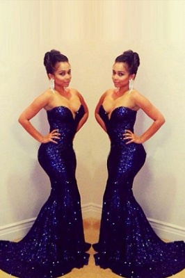 Elegant Sequins Sweetheart Mermaid Prom Dress UK_1