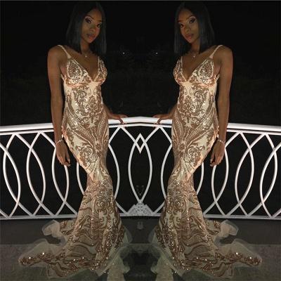 Elegant Sexy V-Neck Spaghetti Straps Sleeveless Gold Lace Appliques Elegant Mermaid Prom Dress UKes UK UK_2