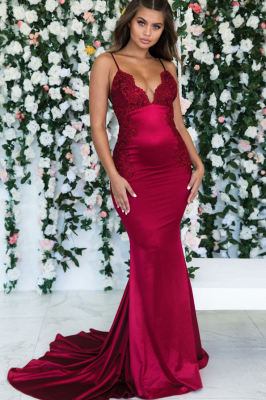 Wine Red Maroon Sleeveless Elegant Trumpt Backless Prom Dress UKes UK UK | Sexy Spaghetti-Straps Lace Appliques Evening Dress UKes UK_1