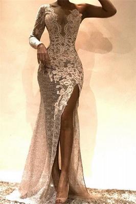 Amazing Column One-Shoulder Side Slit Lace Prom Dress UKes UK UK_1