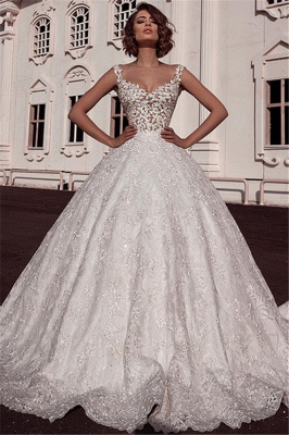 Sexy Ball Gown Spaghetti Straps Sleeveless Lace Applique Bridal Gowns_1