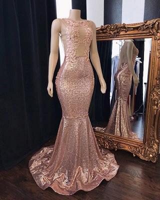 Sweet Pink Sequins Lace Appliques Elegant Trumpt Prom Dress UKes UK UK | Sleeveless Sheer Tulle Evening Dress UKes UK_2