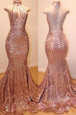 Shiny High Neck Sleeveless Sequins Elegant Trumpt Prom Dress UKes UK UK_1
