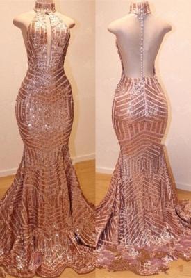 Shiny High Neck Sleeveless Sequins Elegant Trumpt Prom Dress UKes UK UK_4