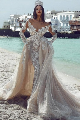 Sexy Sexy V-Neck Long Sleeves Tulle Applique Bridal Gowns with Overskirt_1