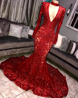 Amazing Elegant Mermaid Long Sleeves Seductive Deep Sexy V-Neck Lace Applique Prom Dress UKes UK UK_3
