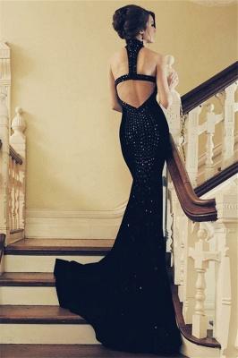 Timeless black Halter Crystal Lace Appliques Elegant Trumpt Prom Dress UKes UK UK   Elegant Sleeveless Open-Back Evening Dress UKes UK_2