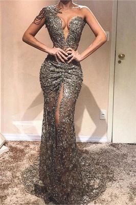 Sexy Column One-Shoulder Lace Appliques Front Split Sparkly Crystal Prom Dress UKes UK UK_1
