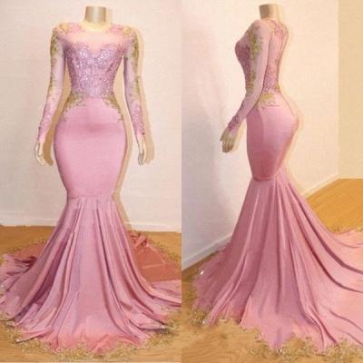 Sweet Pink Lace Appliques Long Sleeves Prom Dress UKes UK UK   Luxury Elegant Trumpt Evening Dress UKes UK_2