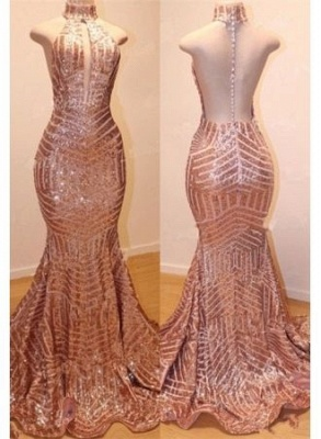 Shiny High Neck Sleeveless Sequins Elegant Trumpt Prom Dress UKes UK UK_3
